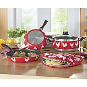 5-Piece Nonstick Rooster Cookware Set with Tortilla Warmer by IMUSA