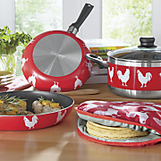 5 pc  nonstick rooster cookware set with tortilla warmer by imusa