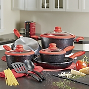10-Piece Aluminum Speckled Cookware Set with Silicone Handles