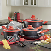 10 pc  aluminum speckled cookware set with silicone handles