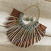 fringe bead necklace earrings set