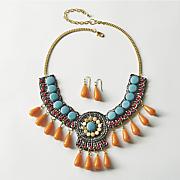 turquoise   orange beaded necklace earring set