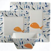 12-Piece Melamine Fish Dinnerware