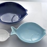 set of 3 ceramic fish bowls