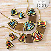 wood bead necklace earring set