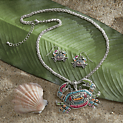 beaded crab necklace earring set