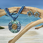 Mosaic Shell Necklace/Earrings Set