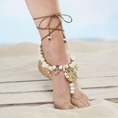 Beaded Sand Dollar Foot Jewelry