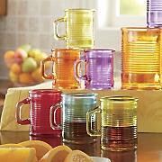 Set of 6 Ribbed Juice Mugs