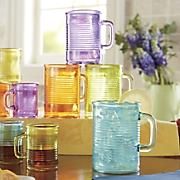 Set of 4 Ribbed Glassware Mugs