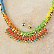 multicolor braided thread and beaded necklace and earrings set