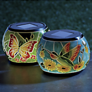 set of 2 butterfly hummingbird solar jar lights