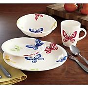 16 pc  butterfly dinnerware set