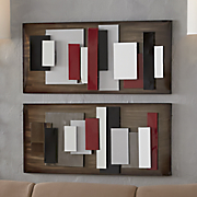 set of 2 abstract mirror art