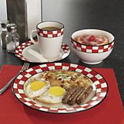 16 pc  checkered dinnerware set