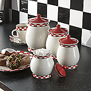 4 pc  checkered canister set