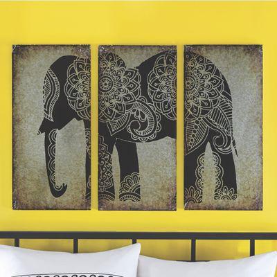 Metal Elephant Triptych