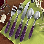 20-Piece Purple Cameo Flatware Set