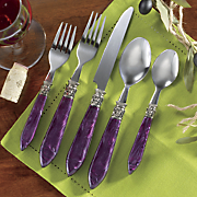 20 pc  purple cameo flatware set