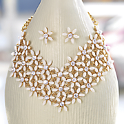 floral goldtone necklace earring set