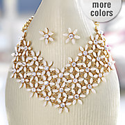 floral goldtone necklace earring set