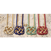 color metal mesh goldtone knot necklace earring set
