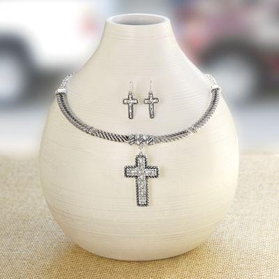 Crystal Cross Necklace/Earring Set