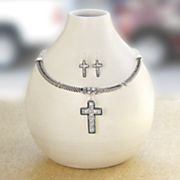 crystal cross necklace earring set