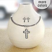 crystal cross necklace earring set
