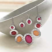 oval colors necklace and earring set