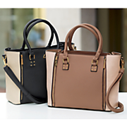 two tone zipper detail satchel