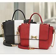 two tone bow latch satchel