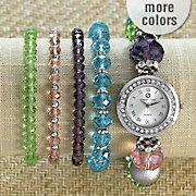 multicolor bead watch bracelet set by adrienne vittadini