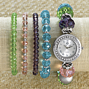 multicolor bead watch bracelet set by adrienne vittadini