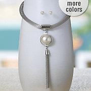 faux pearl tassel drop necklace earring set