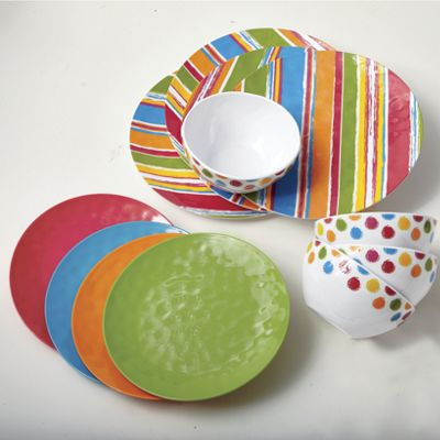 "12-Piece ""Cool Colors"" Melamine Dinnerware Set"
