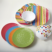 12 pc   cool colors  melamine dinnerware set