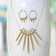 spike ball long necklace hoop set