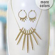 spike ball long necklace hoop set