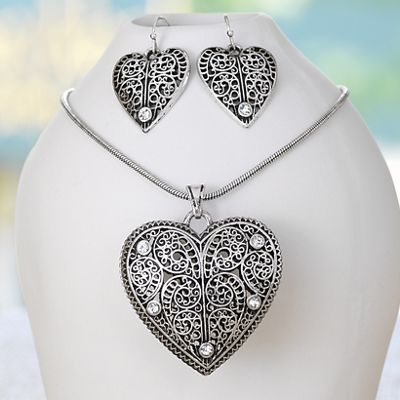 Heart and Scroll Necklace/Earring Set
