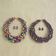 multicolored bead necklace earring set