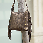 sondra roberts fringe python cross body bag