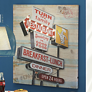 lighted retro restaurant wall art