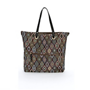 solid to pattern reversible tote with bag in bag