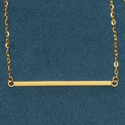 14K Gold Square Bar Necklace