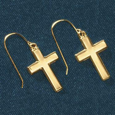 Gold Cross Wire Earrings
