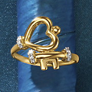 10k gold heart key diamond ring
