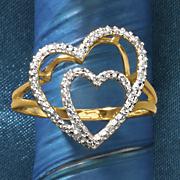 10k gold double heart diamond ring