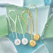 personalized initial disc threader earrings