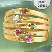 personalized name birthstone family band